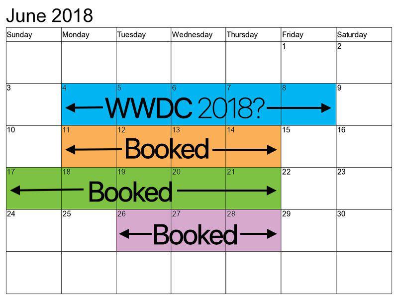 جدول رزرو سالن سن خوزه در ژوئن 2018