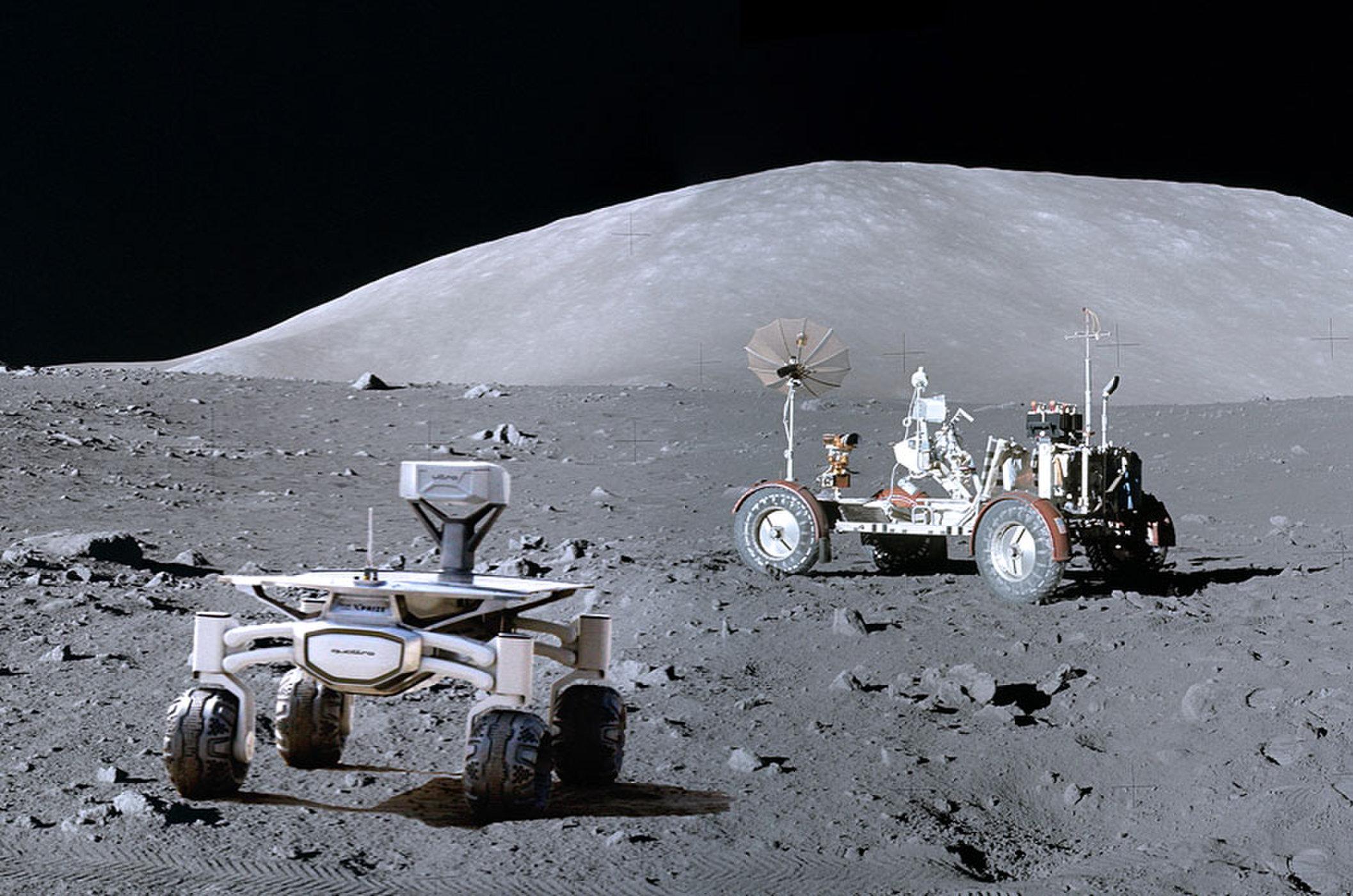 تصویر کاوشگر PTS در کنار Apollo 17